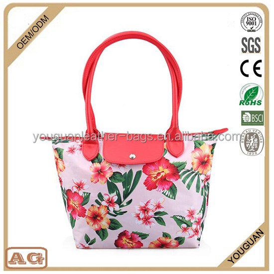 Customized printing wholesale cheap ladies traval canvas beauty makeup bag organizer tote handbag with flower