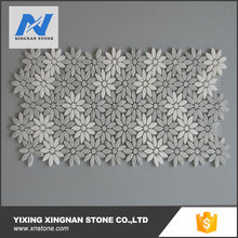 flower shape white and grey color marble mosaic