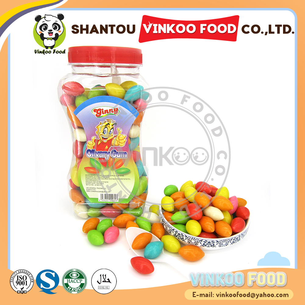 sweet colorful olive olivary bubble gum in jar with spoon