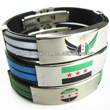 free syria flag silicone with metal wristband