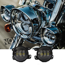 Round high low beam 4.5 inch motorcycle led fog light for Harley with LED angel eye