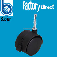 BL removable 50mm black office chair casters with stainless steel shaft
