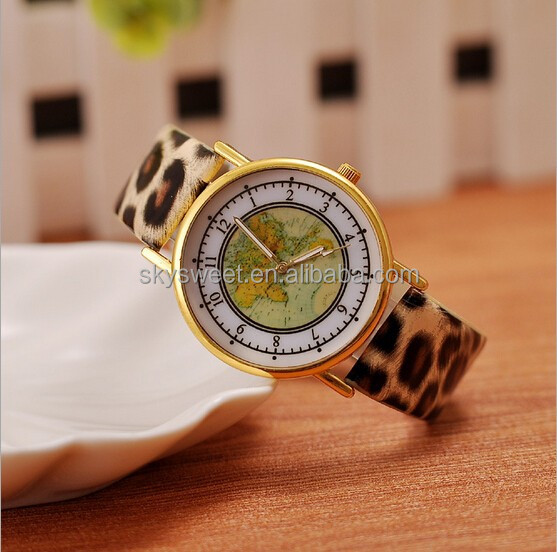 2015 hot sale classical the world map quartz watch,ladies watch