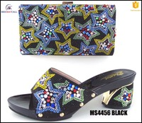 MS4456 Black top selling Italy crystal shoes and bag to match ladies party high heels with clutch purse