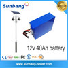 High capacity 12v 24V rechargeable solar storage battery 12V 40ah battery pack for solar street led light