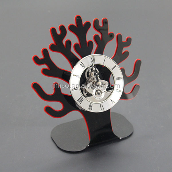 Office, home decoration black coral shape with red edge design acrylic desk, table clock