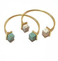 2016 natural stone Square Turquoise bracelets geometric copper women bracelet men smart ally express wholesale bracelet
