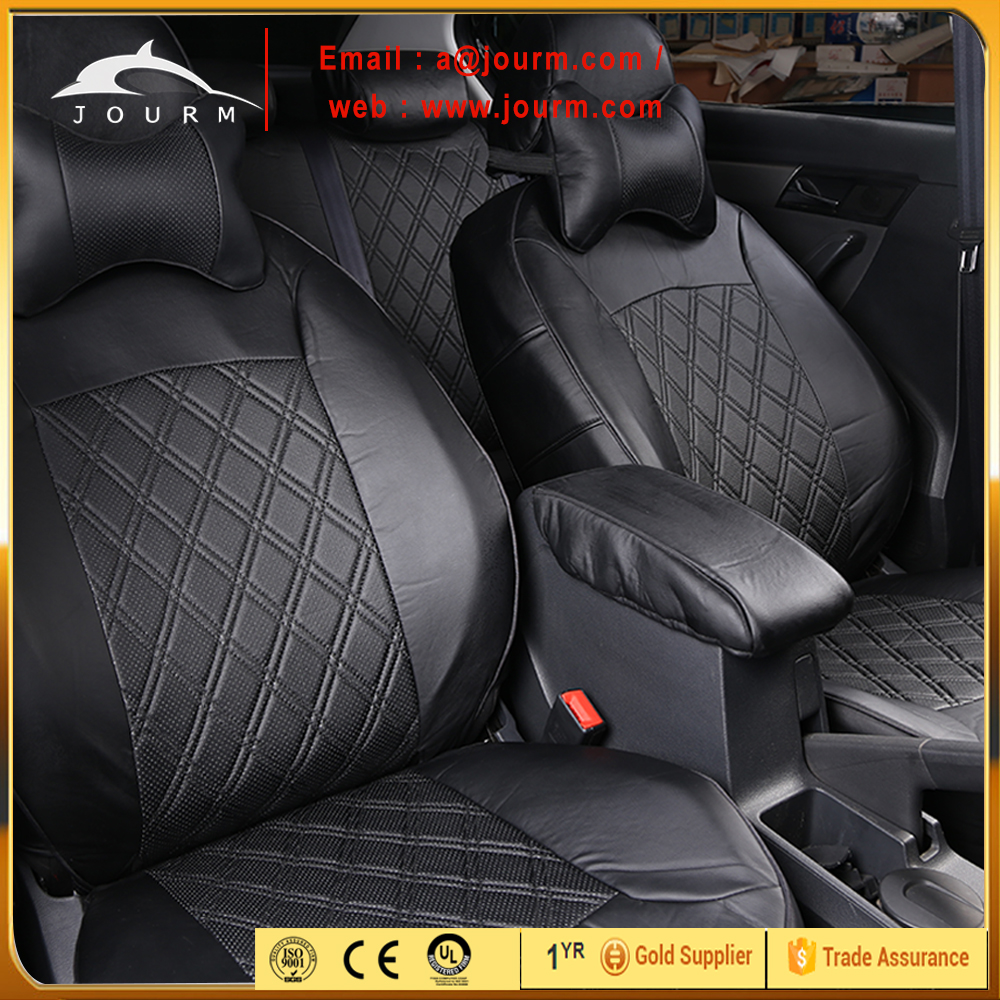 Zone Tech Solid Black Luxury Decor Classic Leather Universal Car Seat Cover