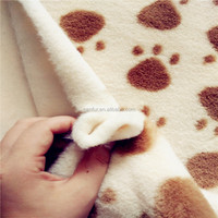 100% poly FDY cat paw print fake rabbit fur fabric