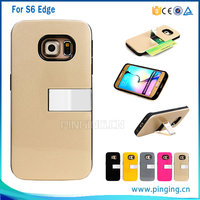 2016 new product Credit card slot kickstand cover case for samsung galaxy s6 edge,back cover for samsung galaxy s6 edge