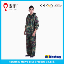 Newest military camo polyester ripstop rainsuit for men