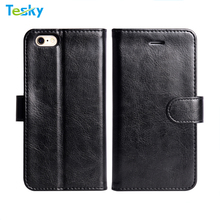 2018 Factory Wholesale OEM PU Leather Black Folio Flip Book Standing Wallet Case For iPhone 6 with Card Case