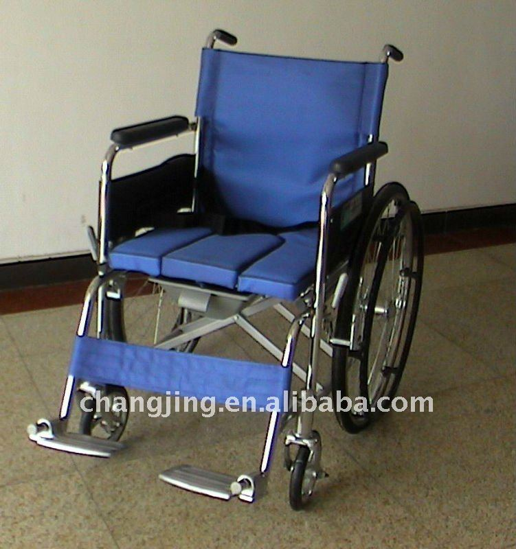 Foldable Plastic-sprayed Wheelchair with Toilet