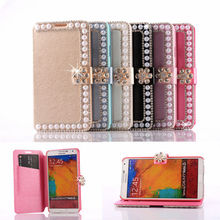 New Leather Book Case for Samsung Note3,Stand Case for Samsung Galaxy Note 3 with Diamond Rhinestone Flower