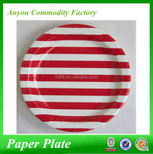 Red color stripe paper plates, partyware disposable paper plate, disposable party paper plates