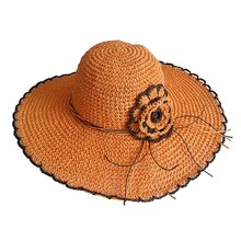 Lady custom bright color cheap paper flower straw hat