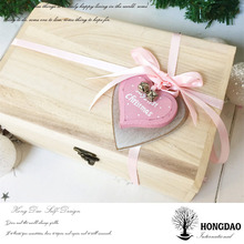 HONGDAO small quantity order custom unfinished simple wooden gift packaging box wooden crates wholesale