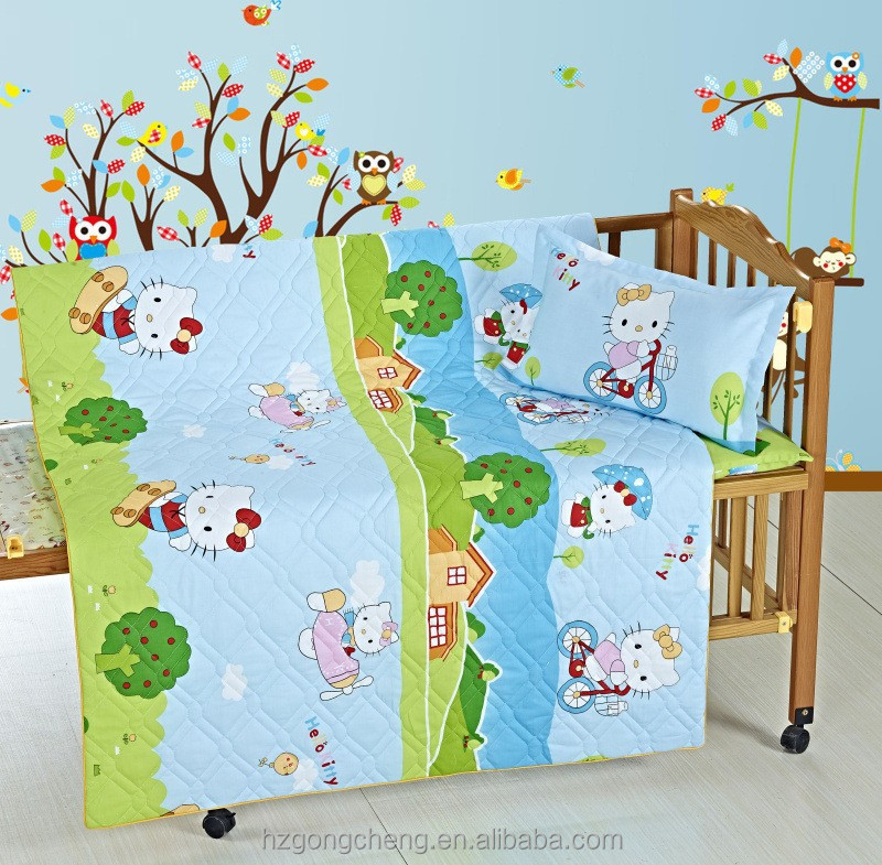 European Style Cotton Crib Baby Bedding Set Suitable for Baby Cot with juquard design