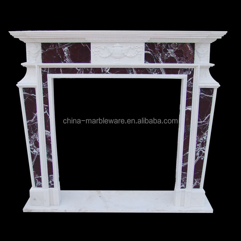Pure hand made stone marble fireplace mantel