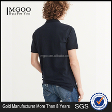 MGOO Fashion 100% Cotton Pique Fabric Polo Split High Low Hem Woven Embroidered Logo Short Sleeve Navy Men Fit Polo