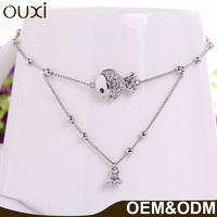 OUXI Latest Design 18K Rhodium Plated