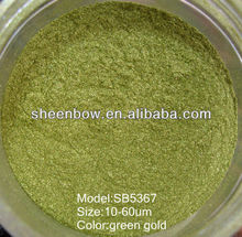 Green gold pearl luster pigment for paints