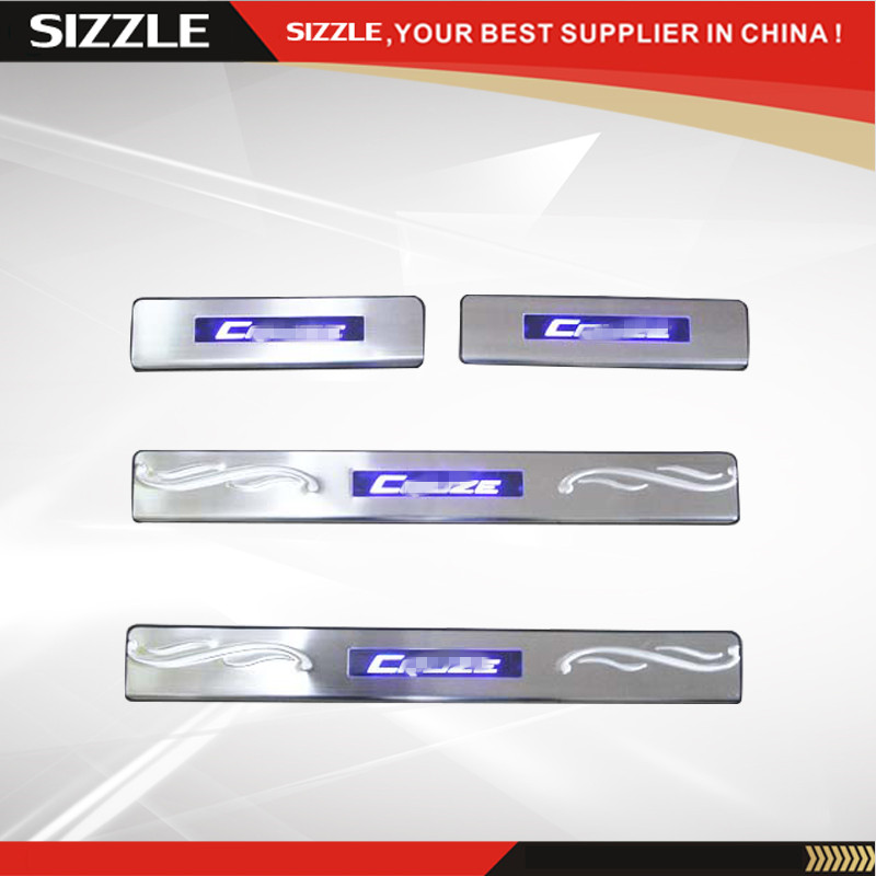 Stainless Steel LED Car Door Sill Scuff Plate For Chevrolet Cruze 2009-2013