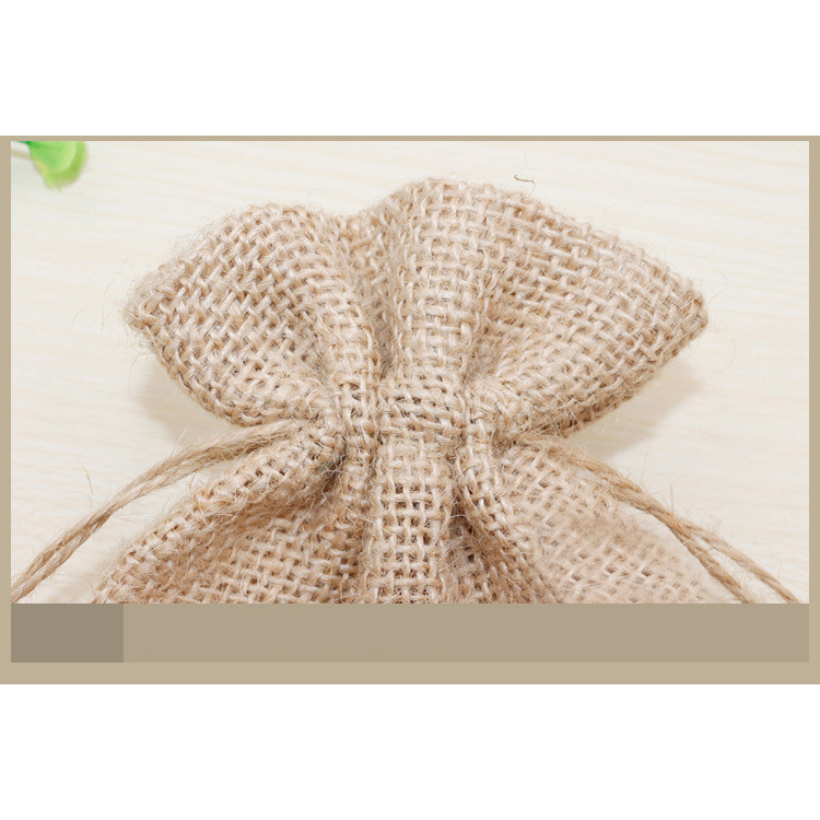 Natural Hemp Drawstring Bags Wholesale Burlap Gift Drawstring Pouch Jute Bags with String