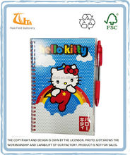 Cartoon PVC Cover Diary Notebook with Pen Attached