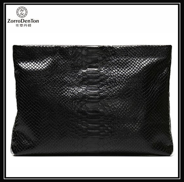 Genuine leather handmade mens new design clear big clutch bags