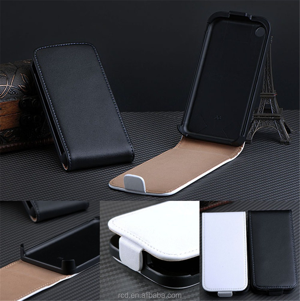 Hot Selling Real Leather Case for IPhone 3G 3GS Flip Skin Cover Open Up And Down RCD03249
