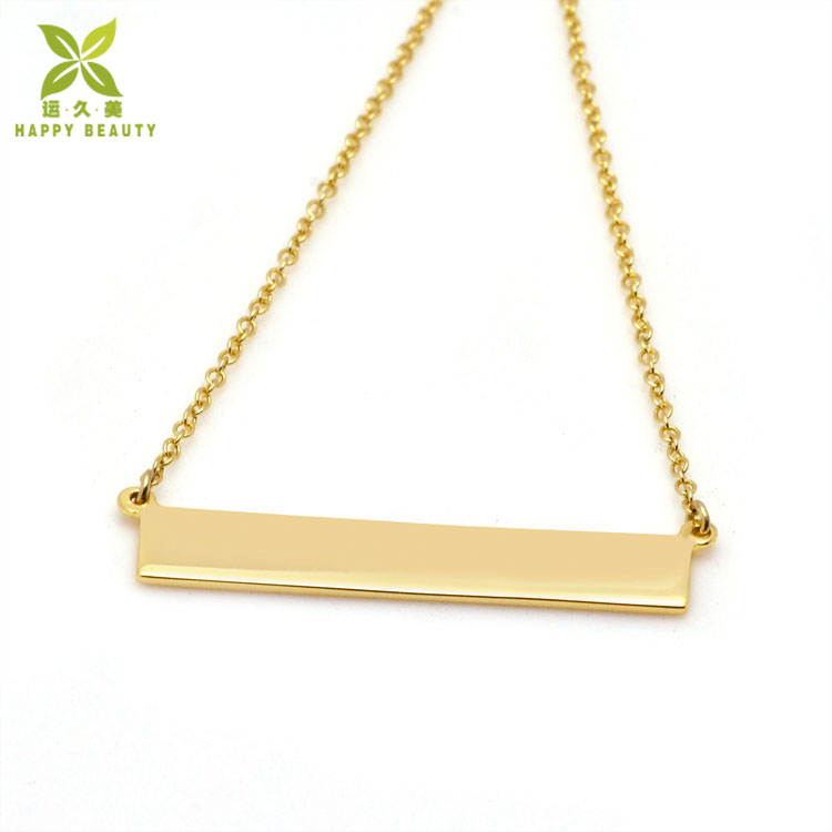 Stainless Steel 18K Gold Custom Stamp Blank Bar Pendant Necklace