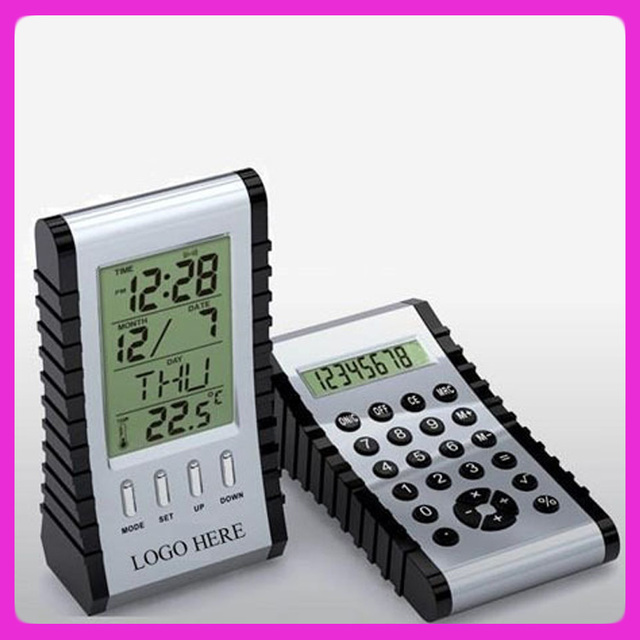 Hot sale LCD table alarm clock calculator with calender and thermometer