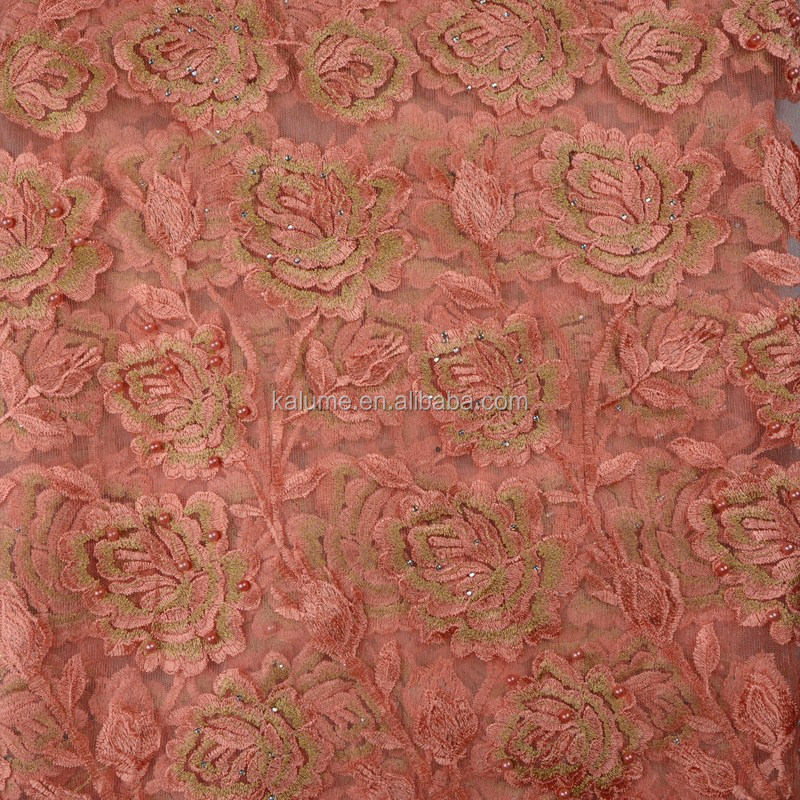 Fashion Designs Peach Color French Lace Fabric Wholesales Latest African Voile Laces 2017 Embroidery Fabric 762