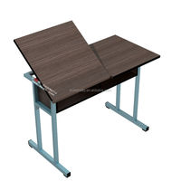 Multifunction wooden top drawing table, MDF school furniture single seat drawing desk set