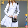 OEM clothing factory white long sleeve cotton women formal dress
