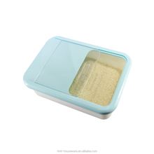 pp wholesale kitchen using household cuboid moistureproof plastic sliding rice storage box with semitransparent lid