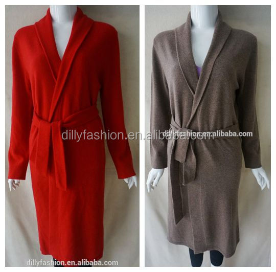 knitted stylish fashion bright colored cashmere bathrobe design for lady