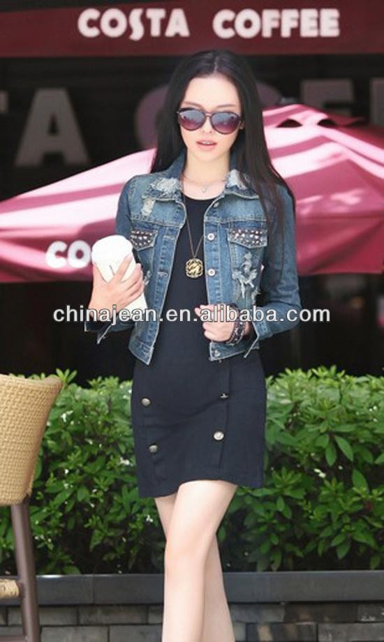 Women casual denim jacket lady vintage jeans jacket women's denim coat (JXJ24866)