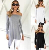 Asymmetrical Hem Boat Neck Loose Woman Blouse Off The Shoulder Latest Blouse Designs