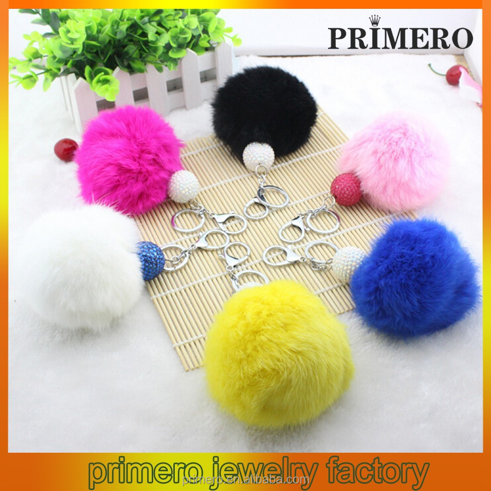 PRIMERO factory promotes colorful fur ball fur key chain ball for Accessories black rabbit fur pom poms ball