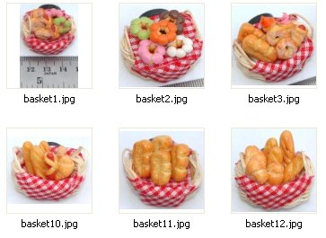 Miniature bakery in basket ( option FRIDGE MAGNET )