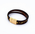 Custom Metal mens leather bracelet