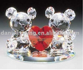 Engraved hand blown glass teddy bear figurines for valentine's gift