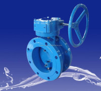 worm gear operated large size double flange butterfly valve