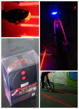 Lowest Price New Bicycle Cycling Laser Tail Light 2 Laser 5 LEDs 7 Modes Mountain Bike Safety warning Back Light