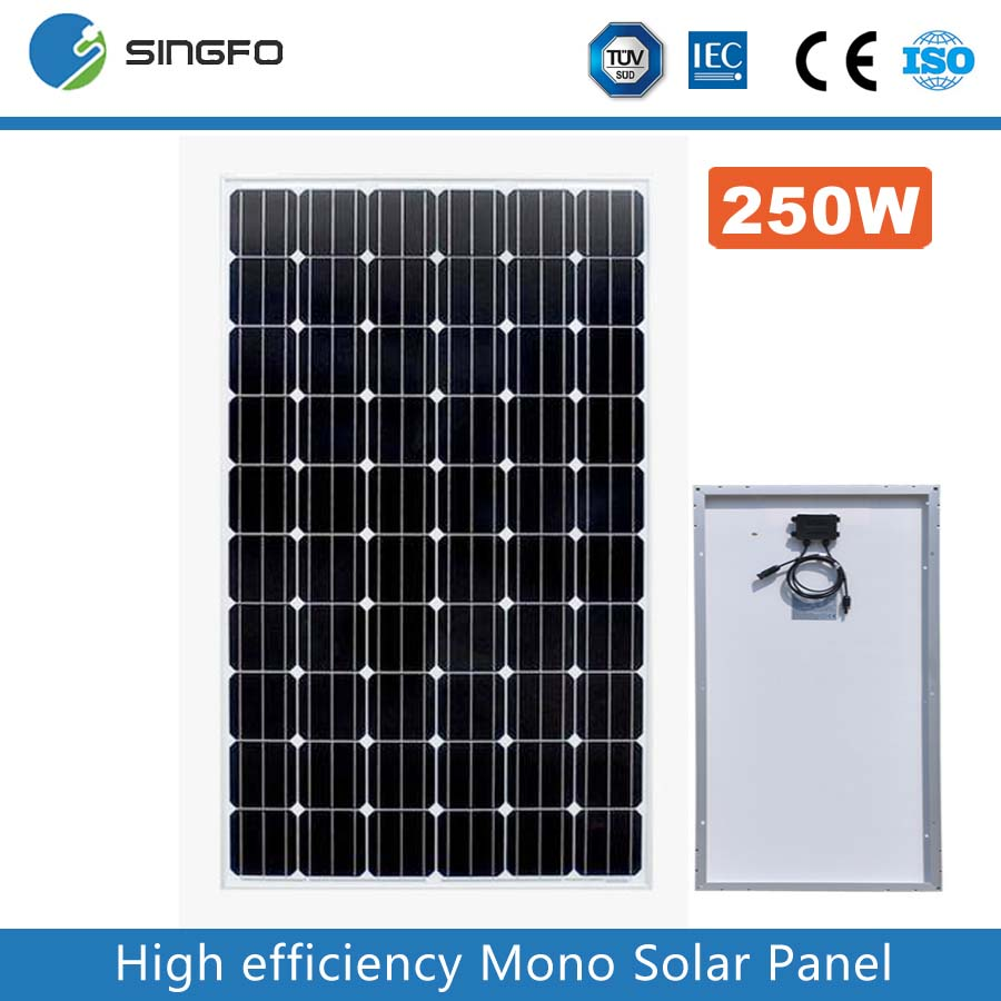 2016 Best Price High Efficiency Hottest Selling 250W 260W Mono Solar Panel Manufacturer In China