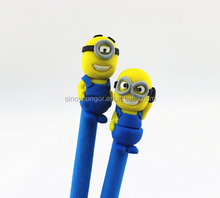 Factory wholesale pen cartoon head polymer clay pens in ballpoint pen