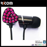 hi-fi stereo ear buds,heart shape rhinestone earphone,heart shape crystal earphone
