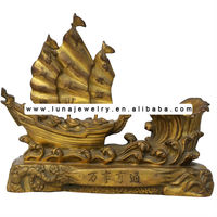 Bronze Feng shui sailing boat ,wealth ship , decorative sailing boat